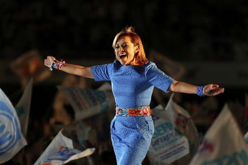 Josefina Vazquez Mota, presidential candidate for the National Action Party (PAN), gestures to suppo