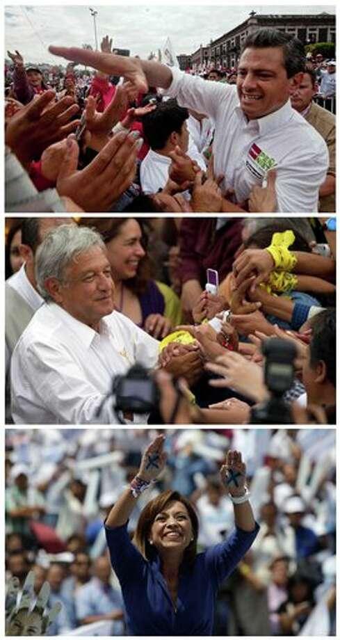 Desde arriba: los candidatos presidenciales Enrique Pe�a Nieto, del Partido Revolucionario Institucional (PRI); Andr�s Manuel L�pez Obrador, del Partido de la Revoluci�n Democr�tica (PRD); y Josefina V�zquez Mota, del Partido Acci�n Nacional (PAN), en actos de campa�a en lugares diferentes en M�xico, en junio de 2012. El domingo 1 de julio se realiza la elecci�n presidencial en M�xico (Foto AP/Christian Palma, Eduardo Verdugo, Dar�o L�pez Mills) Photo: Associated Press