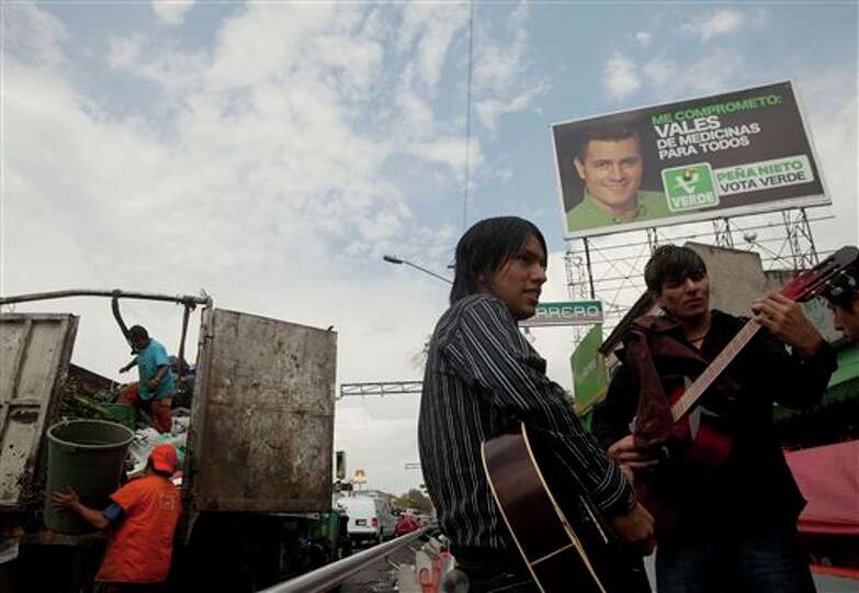 A campaign billboard supporting Enrique Pena Nieto, presidential candidate of the Institutional Revo
