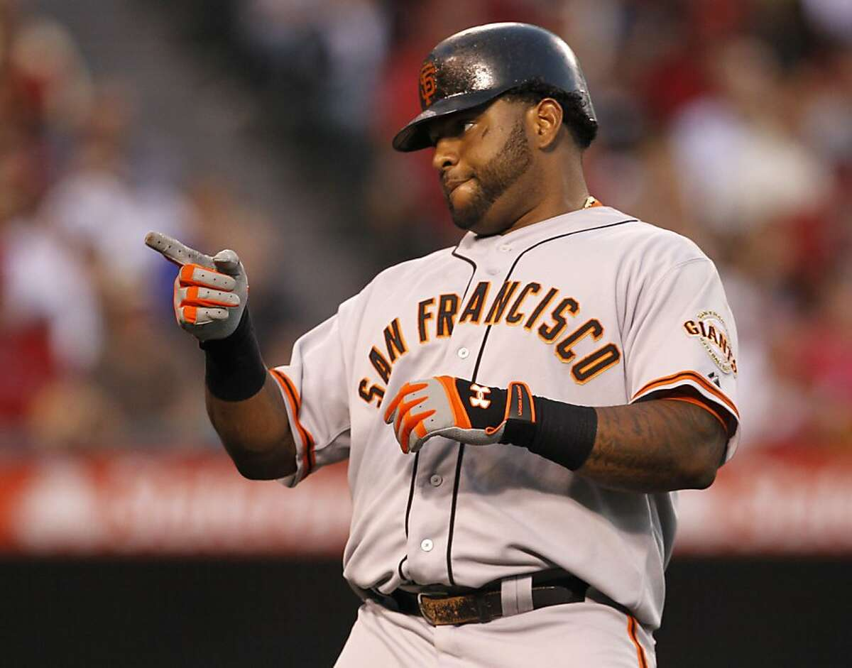 San Francisco Giants' Pablo Sandoval plays against the Los Angeles Angels during a baseball game in Anaheim, Calif., Monday, June 18, 2012. (AP Photo/Chris Carlson)