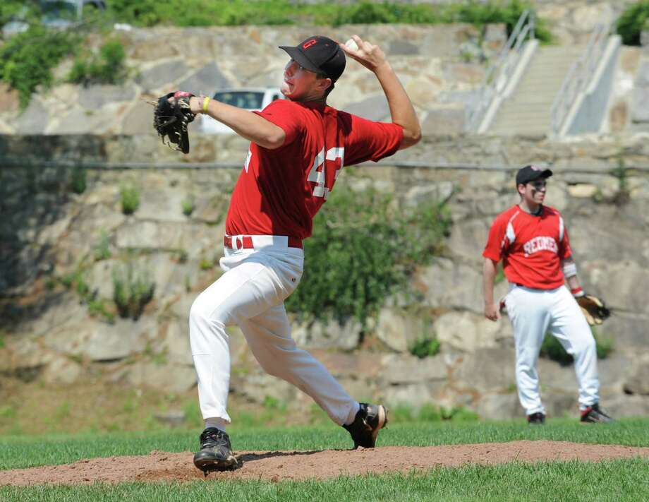 Redmen's pitcher, Pat Callahan, against Rink & Racquet at the Senior Babe Ruth playoffs at Havemeyer Field in Greenwich Sunday, July 1, 2012. The Redmen won 17 to 4. Photo: Helen Neafsey / Greenwich Time
