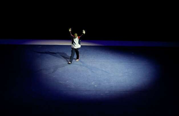 John Orozco is introduced before the start of the preliminary round of the men's Olympic gymnastics trials Thursday, June 28, 2012, in San Jose, Calif.  (AP Photo/Jae C. Hong) Photo: Associated Press