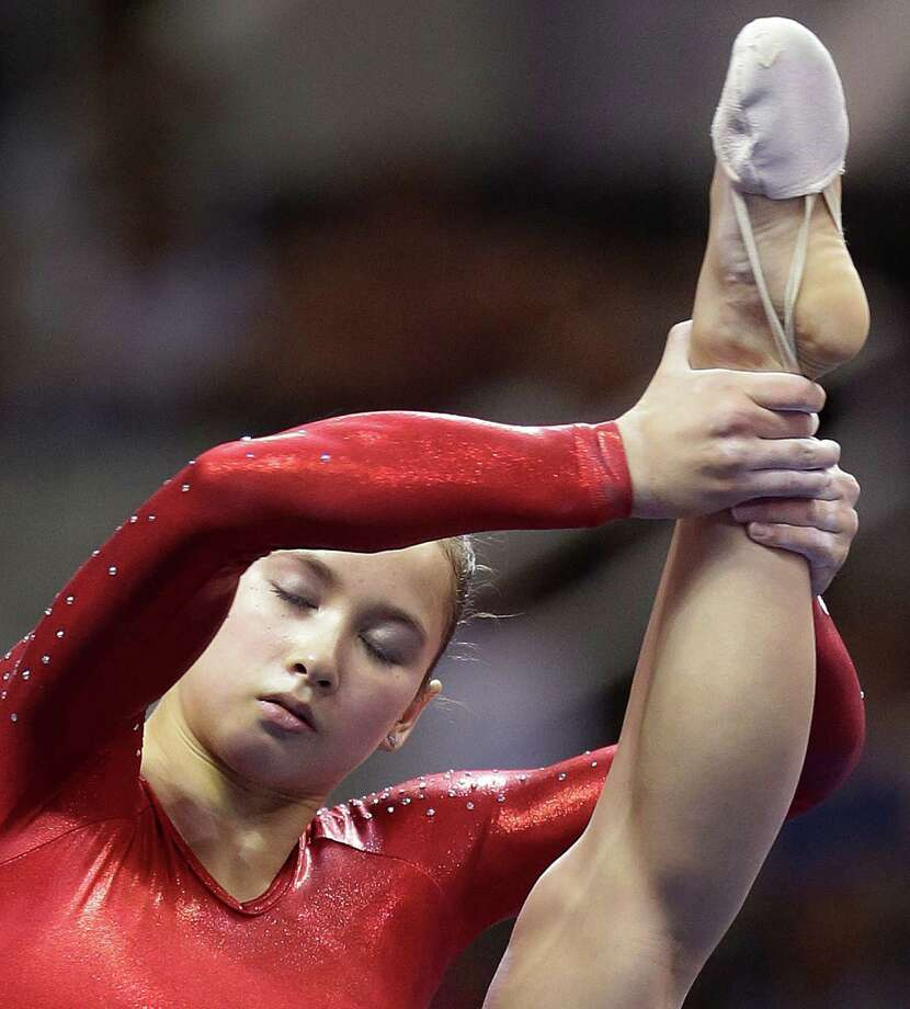 Sarah Finnegan performs her floor exercise routine during the preliminary round of the women's Olympic gymnastics trials, Friday, June 29, 2012, in San Jose, Calif. (AP Photo/Jae C. Hong) Photo: Associated Press