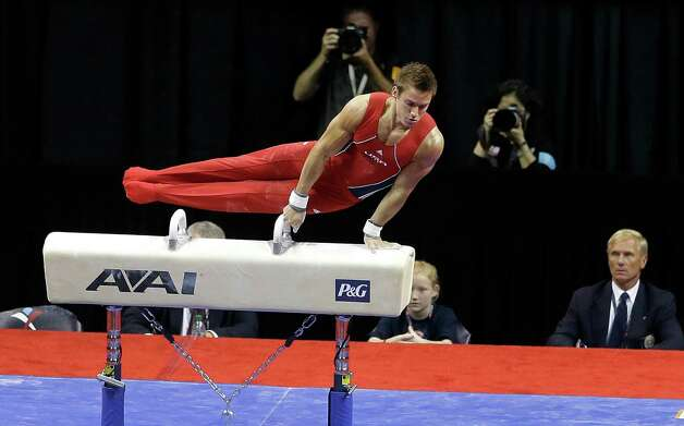 Sam Mikulak performs on the pommel horse during the final round of the men's Olympic gymnastics trials, Saturday, June 30, 2012, in San Jose, Calif. (AP Photo/Gregory Bull) Photo: Associated Press