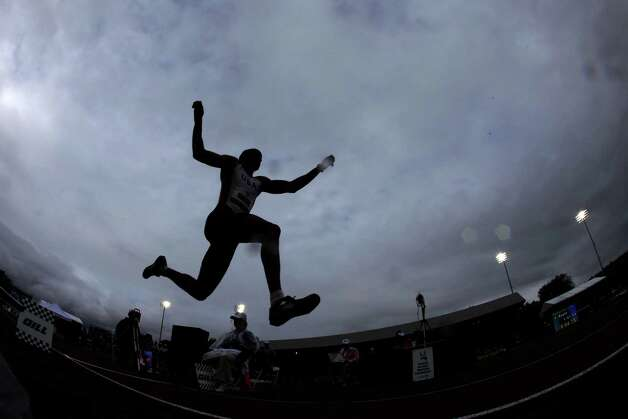 Brandon Roulhac competes in the men's triple jump final at the U.S. Olympic Track and Field Trials Saturday, June 30, 2012, in Eugene, Ore. (AP Photo/Charlie Riedel) Photo: Associated Press