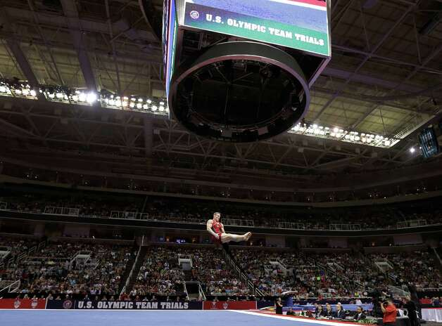 Steve Legendre performs in the floor exercise event during the final round of the men's Olympic gymnastics trials, Saturday, June 30, 2012, in San Jose, Calif. (AP Photo/Gregory Bull) Photo: Associated Press
