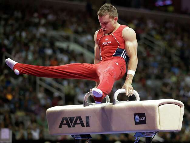 Jonathan Horton competes on the pommel horse during the final round of the men's Olympic gymnastics trials, Saturday, June 30, 2012, in San Jose, Calif. (AP Photo/Jae C. Hong) Photo: Associated Press