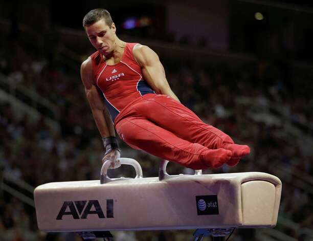 Jake Dalton competes on the pommel horse during the final round of the men's Olympic gymnastics trials, Saturday, June 30, 2012, in San Jose, Calif. (AP Photo/Jae C. Hong) Photo: Associated Press