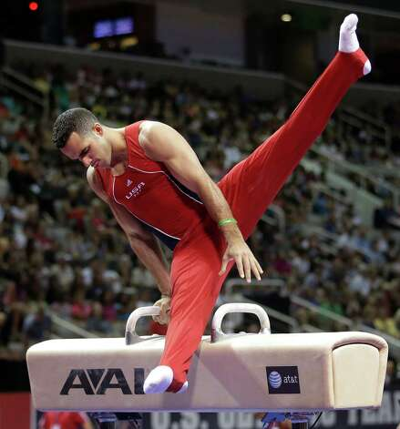 Danell Leyva competes on the pommel horse during the final round of the men's Olympic gymnastics trials, Saturday, June 30, 2012, in San Jose, Calif. (AP Photo/Jae C. Hong) Photo: Associated Press