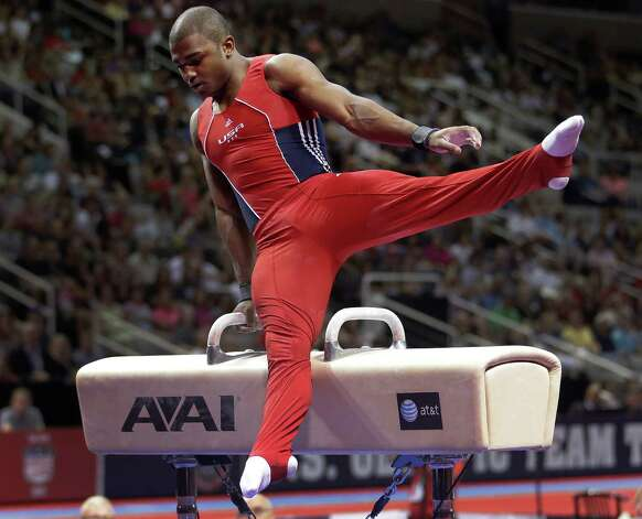 John Orozco competes on the pommel horse during the final round of the men's Olympic gymnastics trials, Saturday, June 30, 2012, in San Jose, Calif. (AP Photo/Jae C. Hong) Photo: Associated Press