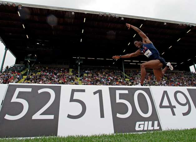 Zedric Thomas competes triple jump competition at the U.S. Olympic Track and Field Trials Saturday, June 30, 2012, in Eugene, Ore. (AP Photo/Charlie Riedel) Photo: Associated Press