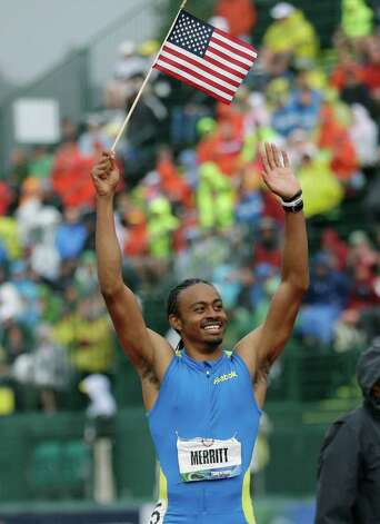 Aries Merritt celabrates winning the men's 110 meter hurdles at the U.S. Olympic Track and Field Trials Saturday, June 30, 2012, in Eugene, Ore. (AP Photo/Marcio Jose Sanchez) Photo: Associated Press