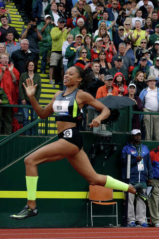 Allyson Felix reacts after the women's 200 meter final at the U.S. Olympic Track and Field Trials Saturday, June 30, 2012, in Eugene, Ore. (AP Photo/Matt Slocum) Photo: Associated Press