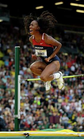 Brigetta Barrett reacts during the women's high jump at the U.S. Olympic Track and Field Trials Saturday, June 30, 2012, in Eugene, Ore. (AP Photo/Matt Slocum) Photo: Associated Press