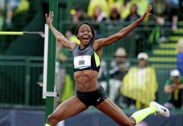 Chaunte Lowe reacts after a successful jump at the U.S. Olympic Track and Field Trials Saturday, June 30, 2012, in Eugene, Ore. (AP Photo/Charlie Riedel) Photo: Associated Press