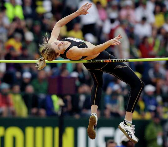 Amy Acuff competes in the women's high jump at the U.S. Olympic Track and Field Trials Saturday, June 30, 2012, in Eugene, Ore. (AP Photo/Marcio Jose Sanchez) Photo: Associated Press