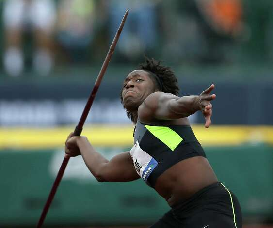 Heptathlete Bettie Wade competes in the javelin throw at the U.S. Olympic Track and Field Trials Saturday, June 30, 2012, in Eugene, Ore. (AP Photo/Matt Slocum) Photo: Associated Press