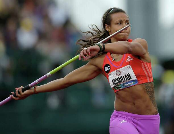 Heptathlete Chantae McMillan competes in the javelin throw at the U.S. Olympic Track and Field Trials Saturday, June 30, 2012, in Eugene, Ore. (AP Photo/Matt Slocum) Photo: Associated Press