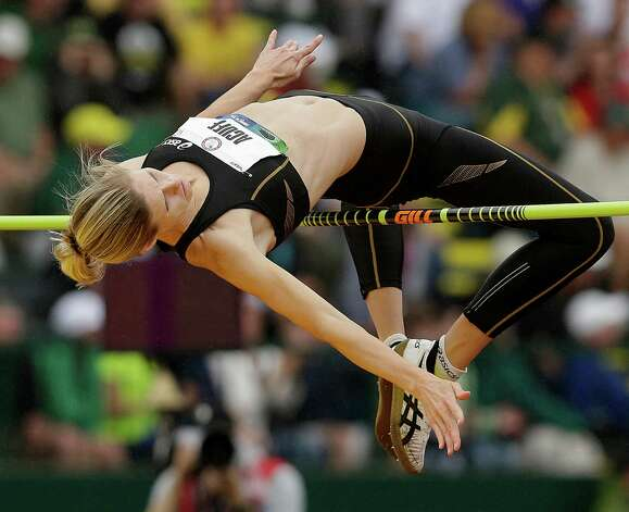 Amy Acuff competes in the women's high jump final at the U.S. Olympic Track and Field Trials Saturday, June 30, 2012, in Eugene, Ore. (AP Photo/Marcio Jose Sanchez) Photo: Associated Press