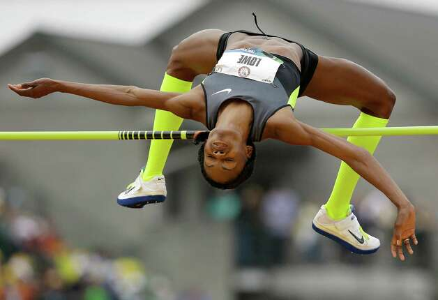 Chaunte Lowe competes in the women's high jump final at the U.S. Olympic Track and Field Trials Saturday, June 30, 2012, in Eugene, Ore. (AP Photo/Marcio Jose Sanchez) Photo: Associated Press