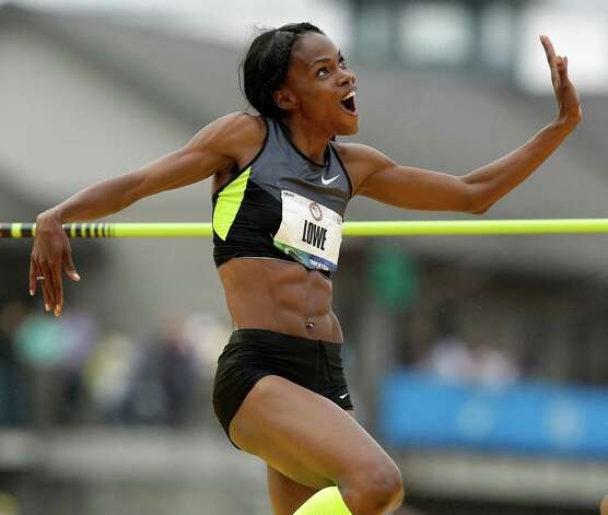 Chaunte Lowe reacts after making her height in the women's high jump final at the U.S. Olympic Track and Field Trials Saturday, June 30, 2012, in Eugene, Ore. (AP Photo/Marcio Jose Sanchez) Photo: Associated Press