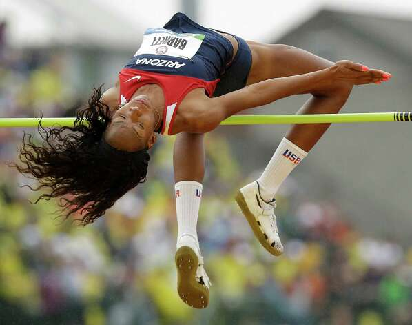 Brigetta Barrett competes in the women's high jump final at the U.S. Olympic Track and Field Trials Saturday, June 30, 2012, in Eugene, Ore. (AP Photo/Marcio Jose Sanchez) Photo: Associated Press