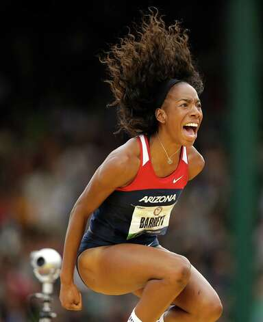 Brigetta Barrett reacts after making her height in the women's high jump final at the U.S. Olympic Track and Field Trials Saturday, June 30, 2012, in Eugene, Ore. (AP Photo/Marcio Jose Sanchez) Photo: Associated Press