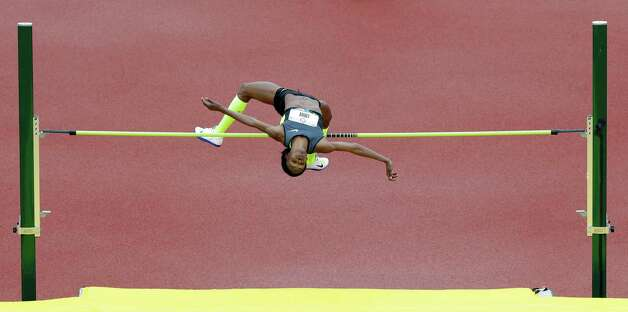 Chaunte Lowe competes in the women's high jump at the U.S. Olympic Track and Field Trials Saturday, June 30, 2012, in Eugene, Ore. (AP Photo/Eric Gay) Photo: Associated Press