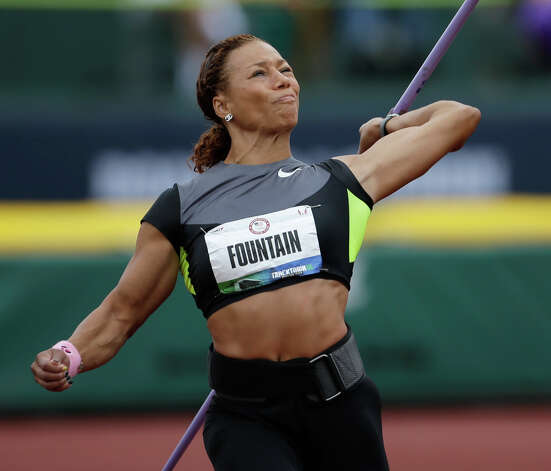 Heptathlete Hyleas Fountain competes in the javelin throw at the U.S. Olympic Track and Field Trials Saturday, June 30, 2012, in Eugene, Ore. (AP Photo/Matt Slocum) Photo: Associated Press