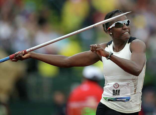 Heptathlete Sharon Day competes in the javelin throw at the U.S. Olympic Track and Field Trials Saturday, June 30, 2012, in Eugene, Ore. (AP Photo/Matt Slocum) Photo: Associated Press