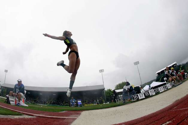 Heptathlete Hyleas Fountain competes in the long jump at the U.S. Olympic Track and Field Trials Saturday, June 30, 2012, in Eugene, Ore. (AP Photo/Charlie Riedel) Photo: Associated Press