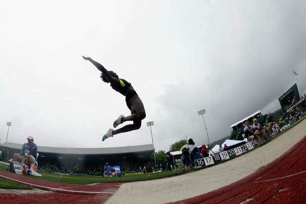 Heptathlete Bettie Wade competes in the long jump at the U.S. Olympic Track and Field Trials Saturday, June 30, 2012, in Eugene, Ore. (AP Photo/Charlie Riedel) Photo: Associated Press