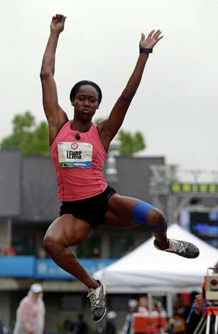Heptathlete Yvette Lewis competes in the long jump at the U.S. Olympic Track and Field Trials Saturday, June 30, 2012, in Eugene, Ore. (AP Photo/Charlie Riedel) Photo: Associated Press
