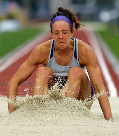 Heptathlete Ryann Krais competes in the long jump at the U.S. Olympic Track and Field Trials Saturday, June 30, 2012, in Eugene, Ore. (AP Photo/Charlie Riedel) Photo: Associated Press