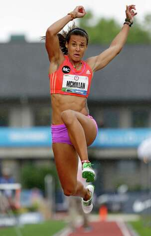 Heptathlete Chantae McMillan competes in the long jump at the U.S. Olympic Track and Field Trials Saturday, June 30, 2012, in Eugene, Ore. (AP Photo/Charlie Riedel) Photo: Associated Press