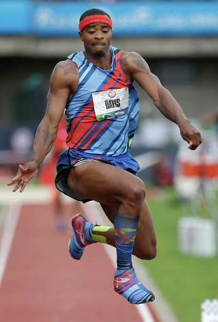 Walter Davis competes in the men's triple jump final at the U.S. Olympic Track and Field Trials Saturday, June 30, 2012, in Eugene, Ore. (AP Photo/Charlie Riedel) Photo: Associated Press