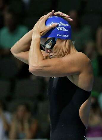 Dara Torres prepares to swim in the women's 50-meter freestyle preliminaries at the U.S. Olympic swimming trials, Sunday, July 1, 2012, in Omaha, Neb. (AP Photo/Mark Humphrey) Photo: Associated Press
