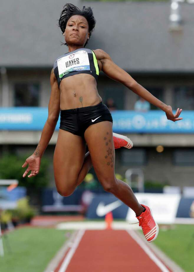 Chelsea Hayes competes in the women's long jump final at the U.S. Olympic Track and Field Trials Sunday, July 1, 2012, in Eugene, Ore. Hayes came in second and made the Olympic team. (AP Photo/Charlie Riedel) Photo: Associated Press
