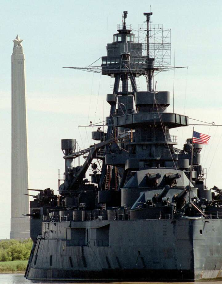 The USS Texas at her berth with the San Jacinto Monument in the background. Photo: Steve Ueckert / Houston Chronicle