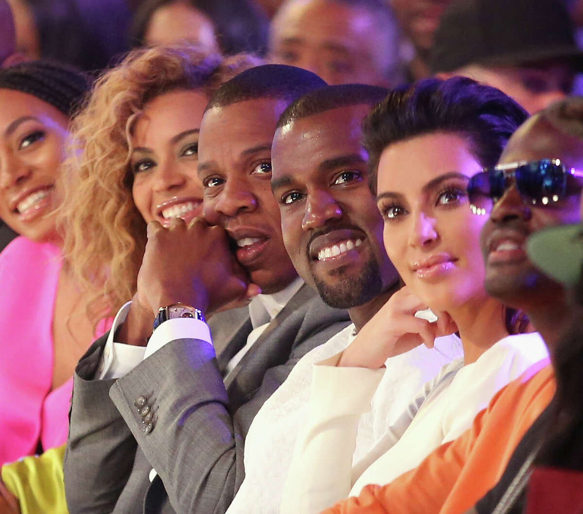 LOS ANGELES, CA - JULY 01: (L-R) Singer Beyonce, rappers Jay-Z and Kanye West and television personality Kim Kardashian attend the 2012 BET Awards at The Shrine Auditorium on July 1, 2012 in Los Angeles, California.