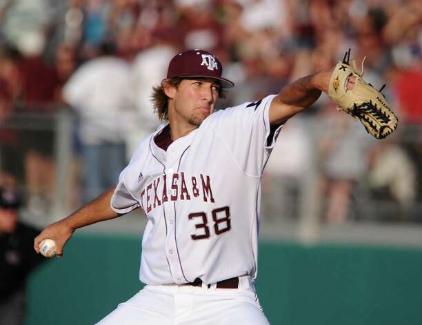 9. Wild for Wacha: Texas A&M starting pitcher Michael Wacha throws from the mound against Baylor during the first inning Saturday, April 16, 2011, at Olsen Field in College Station. Photo: AP Photo / Waco Tribune Herald, Rod Aydelotte