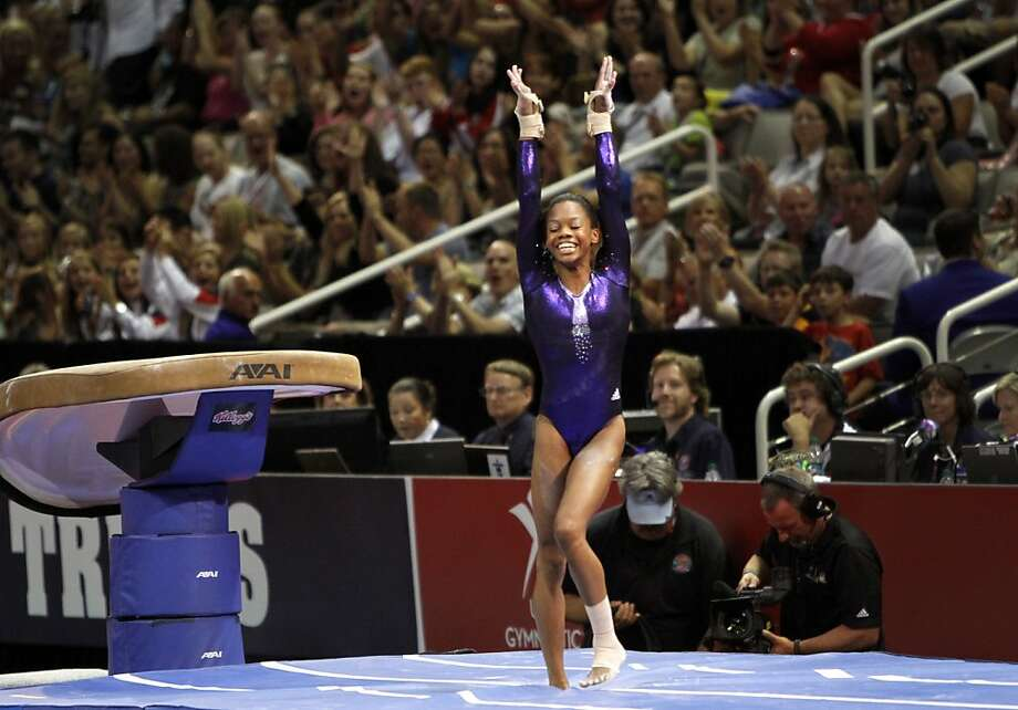 Gabby Douglas lands her vault during competition at the women's Olympic gymnastic qualifying trials in San Jose, Calif., Sunday, July 1, 2012. Photo: Sarah Rice, Special To The Chronicle