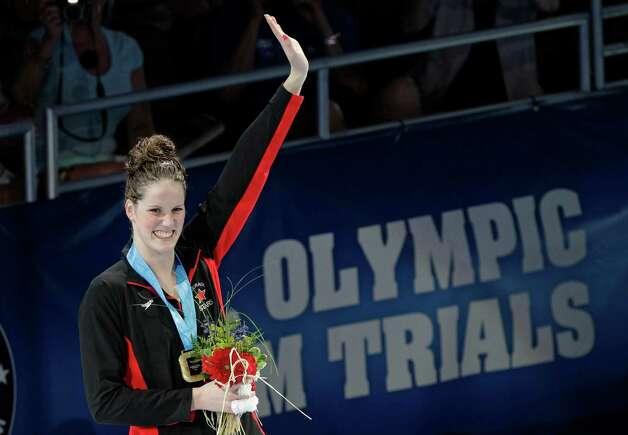Missy Franklin waves during the medal ceremony for the women's 200-meter backstroke at the U.S. Olympic swimming trials, Sunday, July 1, 2012, in Omaha, Neb.(AP Photo/Nati Harnik) Photo: Associated Press