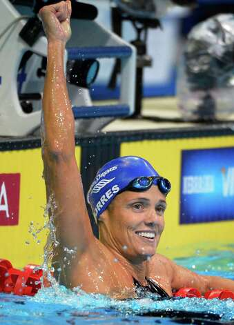 Dara Torres reacts after swimming in the women's 50-meter freestyle semifinal at the U.S. Olympic swimming trials, Sunday, July 1, 2012, in Omaha, Neb. (AP Photo/Mark J. Terrill) Photo: Associated Press