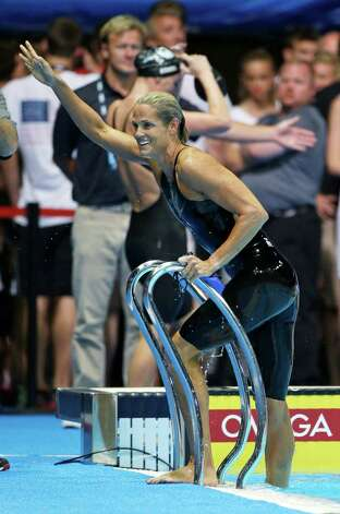 Dara Torres celebrates after swimming in the women's 50-meter freestyle semifinal at the U.S. Olympic swimming trials on Sunday, July 1, 2012, in Omaha, Neb. (AP Photo/Mark Humphrey) Photo: Associated Press