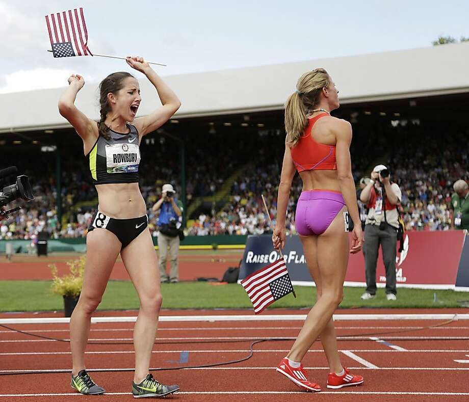 Shannon Rowbury, left, celebrates finishing second in the women's 1500 meters Sunday.