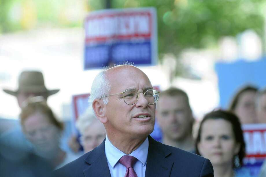 U.S. Congressman Paul Tonko talks about Madelyn Thorne during a campaign event for her outside of  Proctors Theater on State St. on Sunday, July 1, 2012 in Schenectady, NY.  Thorne officially announced on Sunday that she will be a candidate for State Senate for the seat currently held by Hugh Farley.  (Paul Buckowski / Times Union) Photo: Paul Buckowski