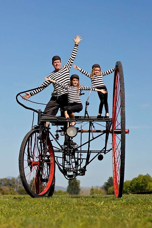Santa Rosa bike designer Todd Barricklow (with his daughters and one of his creations) will take part in Pedalfest, one of the biggest cycling events in the Bay Area, Saturday in Oakland. Photo: Pedalfest