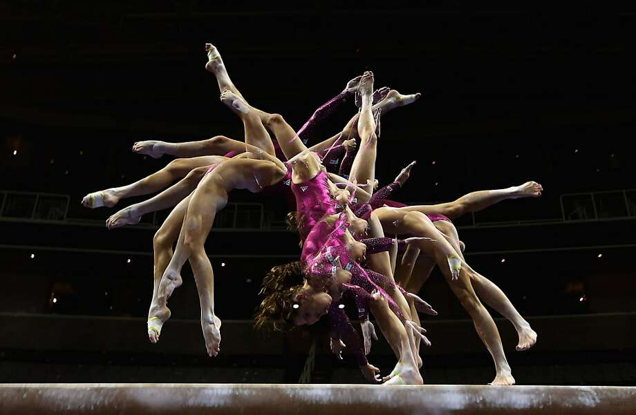 SAN JOSE, CA - JULY 01:  (EDITORS NOTE: Multiple exposures were combined in camera to produce this image.) McKayla Maroney practices on the beam before the start of competition on day 4 of the 2012 U.S. Olympic Gymnastics Team Trials at HP Pavilion on July 1, 2012 in San Jose, California.  (Photo by Ezra Shaw/Getty Images) *** BESTPIX *** Photo: Ezra Shaw, Getty Images