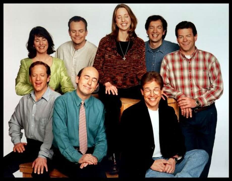 """Seattle still had """"Almost Live!"""" the KING/5 sketch comedy show. And the '90s were the John Keister years, not to mention Joel McHale and Nancy Guppy. It might not have made its mark on the world, but the show sure made a mark on Seattle."""